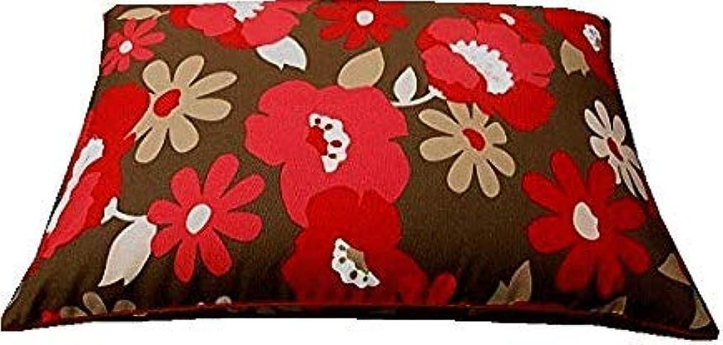 外出ペンダント取り壊す大型そばがら枕(大花?レッド)/ピロケース付き/日本製/中袋にもファスナー付。そば殻の高さの調節が便利です。 (レッド)