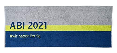 Strandtuch ABI 2021, grau Kiwi-grün blau, 70x180cm, Walkfrottier 480g/qm, 100% Baumwolle