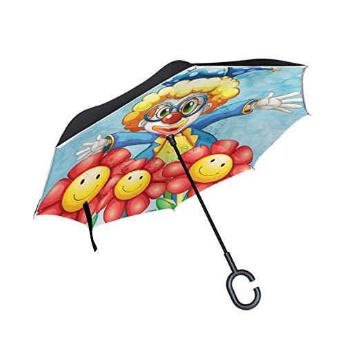 Reverse-Regenschirme mit C-förmigen Griff Cartoon niedlichen Clown Blume Winddicht Anti-UV-Falten für Auto