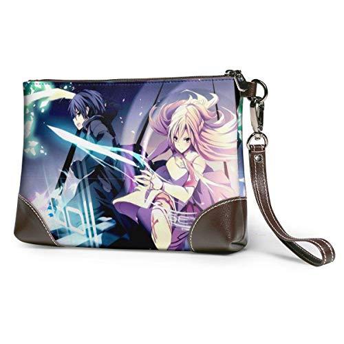 bolso de mano de cuero para mujer Anime Sword Art Online Bolso de mano de cuero para mujeres y hombres Pulsera de cuero suave con cremallera de cuero y metal de primera calidad