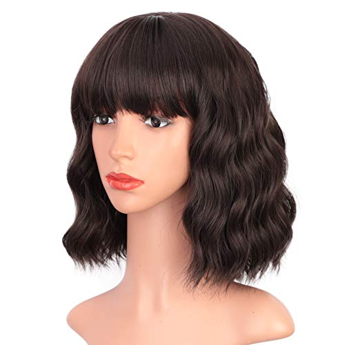 """ENTRANCED STYLES Dark Brown Wig with Bangs Short Bob Wig Shoulder Length Womens Wig Pastel Brown Realistic Wigs for Women Heat Resistant Synthetic Wig Daily Use 12"""""""