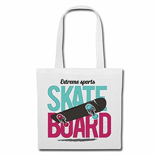 Tasche Umhängetasche Skate Board EXTREM Sport SKATEBORD Skater Skateboardfahrer Skate Border Einkaufstasche Schulbeutel Turnbeutel in Weiß