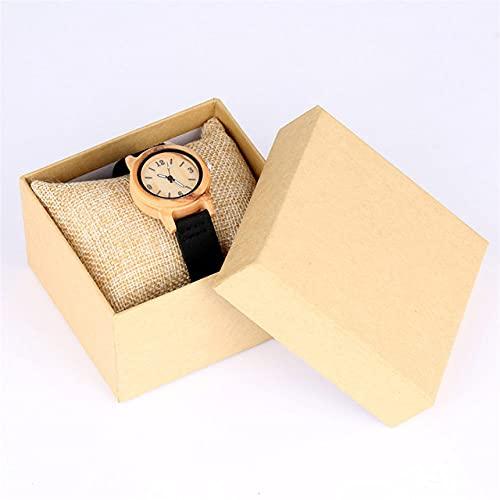 RWJFH Reloj de Madera Reloj de Madera de Arce Reloj de Cuero de Cuarzo para Mujer Relojes Elegantes e Informales Simples para Mujer Correa de Reloj marrón/Negra, Negra con Caja