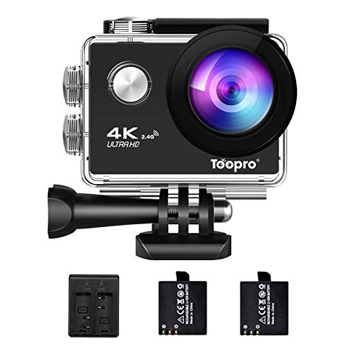 TooPro 6 4K Action Camera WiFi Ultra HD Waterproof Underwater Camera 16M 173 Degree Ultra Wide-Angle Lens with 2 Pcs Rechargeable Batteries and Mounting Accessories Kits