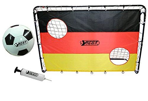 Best Sporting Fußballtor Set mit Tor, Torwand mit 2 Schusslöchern, Ball, Pumpe, Design Deutschland