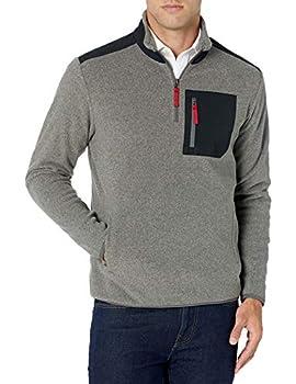 Amazon Essentials Men s Quarter-Zip Polar Fleece Jacket Charcoal Heather/Black Color Block Medium