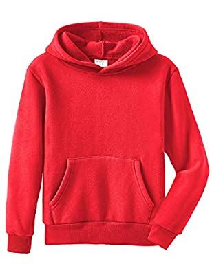 Spring&Gege Youth Solid Pullover Fleece Hoodies Kids Sport Hooded Sweatshirts for Teen Girls and Boys Red Size 11-12 Years