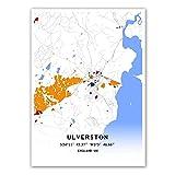 Ulverston England - Póster de mapa del Reino Unido, diseño de Mondrian
