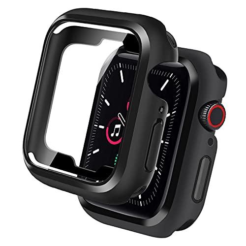 yotame Carcasa para Apple Watch 44 mm Series SE/6/5/4 + protector de pantalla, silicona protección de pantalla vidrio templado, 360 ° Ultra delgada TPU y protector pantalla con 4 botones para iWatch