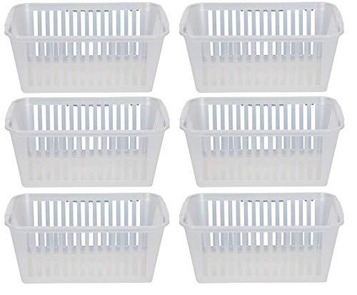 Whitefurze - Cestini portaoggetti, in plastica trasparente, 25 cm, confezione da 6
