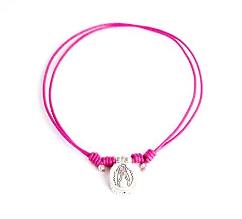 Kokomorocco Colgante Medalla Plata de Ley Virgen de Guadalupe méxicana con cordón de Cuero Ajustable, Color Rosa, Regalos Originales