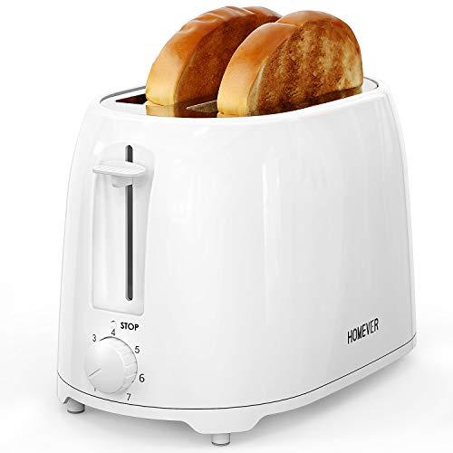 Homever 2-Scheiben-Toaster, Toaster mit 7 Temperatureinstellungen, 1,5-Zoll-Toaster mit extra breiten Schlitzen und herausnehmbarer Krümelschublade und Kabelaufbewahrungs funktion, 900 W, TXT-044 Weiß