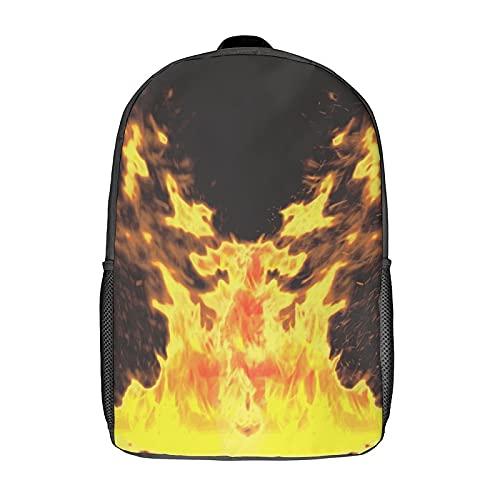 Lustige wasserdichte leichte Kinder-Taschen für Schule, Studenten, originelles Design, Tapete Burning Fire Morphology Chris, Schwarz, 43 cm