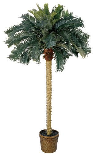 Nearly Natural 6ft. Sago Palm Silk Artificial Tree, 6 ft, Green