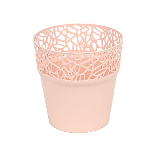 Rond cache-pot 14.5 cm NATURO plastique romantique style en jaune