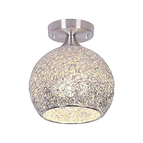 Mobestech E27 Led Plafondlamp Aluminium Bol Hanglamp Plafondlamp Voor Thuis Woonkamer Slaapkamer Gang Hal Zilver Lampen Niet Inbegrepen