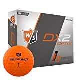 Wilson Staff DX2 Optix Golf Balls, Orange, Pack of 12