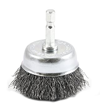 Forney 72729 Wire Cup Brush Coarse Crimped with 1/4-Inch Hex Shank 2-Inch-by-.012-Inch
