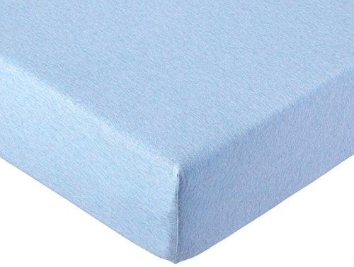 AmazonBasics - Sábana bajera ajustable, tejido jersey jaspeado - Azul claro -...