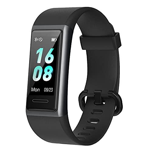 Smartwatch, IP68 Wasserdicht Fitness Tracker Schrittzähler Uhr mit Pulsmesser Fitness Armbanduhr iOS Android Kompatibel für Damen Herren Kinder (153-Schwarz)