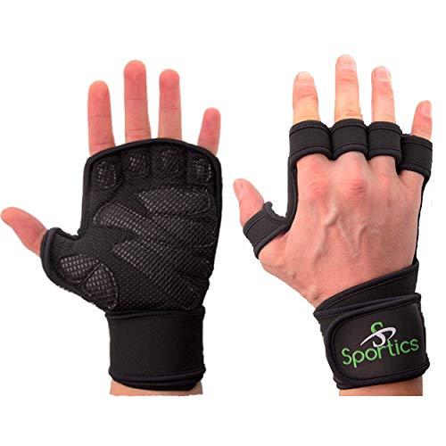 Sportics Crossfit Fitness Handschuhe für Damen und Herren Handschutz Gym Pull Up Grips Gewichtheber Handschuhe idealer Handgelenkschutz für Klimmzüge Hantel Training Handflächenschutz
