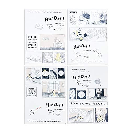 XINGDONG Dibujos animados paquete de cuatro fundas de goma impermeable cuaderno A5 línea horizontal de protección de los ojos del aula cuaderno de ejercicios duradero