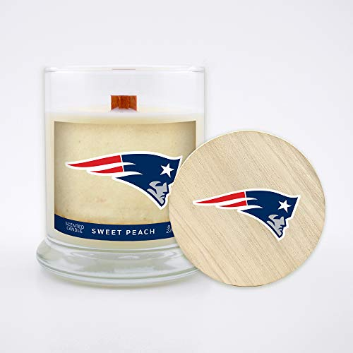 Worthy Promo NFL Scented Candle 8 Oz Soy Wax, Wood Wick and Lid, New England Patriots (Peach)