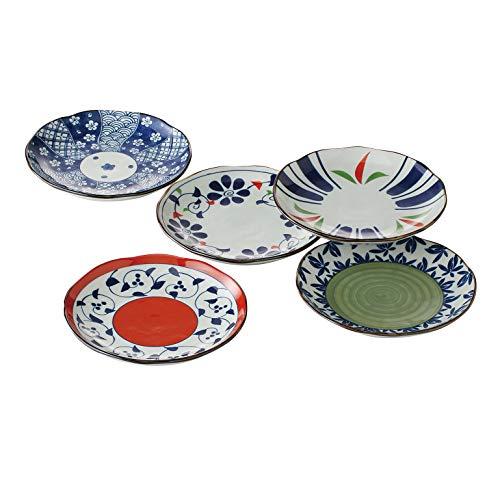 Traditional Japanese Hasami-yaki Porcelain Plates Set of 5 Made in Japan Sometsuke-Irodori 52659