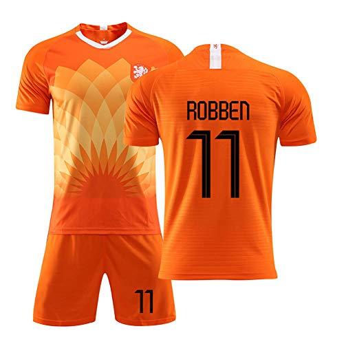 Robben 11# Niederlande Fußballtrikot, Nationalmannschaft Heim Orange Uniform Herren Jugend Jugend Kurzarm T-Shirt Trainingsanzug 2-teiliges Geschenk- L (175~180CM)
