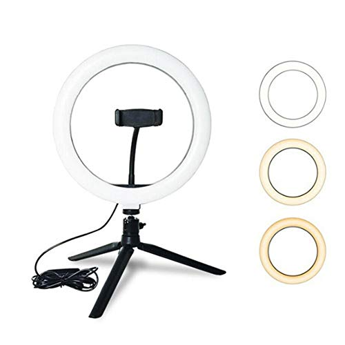 Acutty 10 Inch LED Ring Light Lamp, Selfie Camera Phone Holder Studio Tripod Stand Video Dimmable Adjustable Angle or Photography/Makeup/Vlogging/Live Streaming