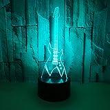 DFDLNL Instrumentos Musicales Modelo Guita Luces nocturnas 3D Interruptor táctil LED 7 Cambio de Color Lámpara de Mesa 3D Niños Ventiladores Juguete de Regalo