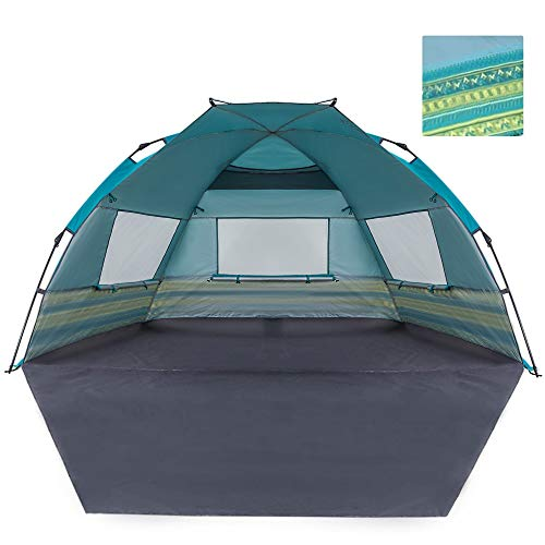 KingCamp Beach Tent Sun Shade Shelter Oversize with Extention Floor Privacy Door Semi-Closed Structure Portable Easy Set Up Instant UV Protection