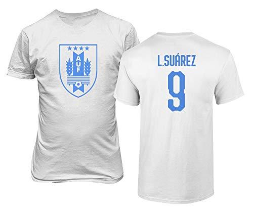 BTA Apparel Uruguay Fußball #9 Luis Suarez Jersey Stil Herren T-Shirt (Weiß, M)