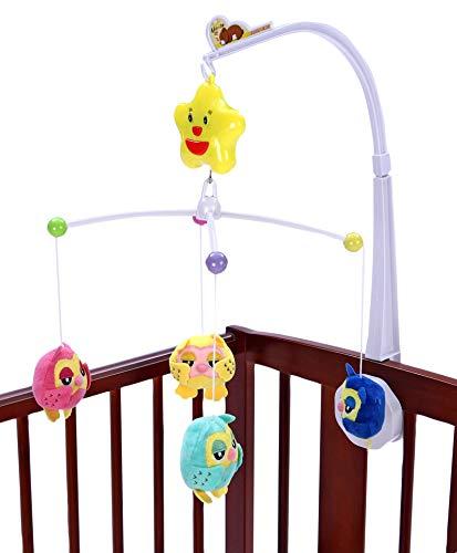 Brigamo Baby Mobile mit lustigen Eulen & Spieluhr, Mobile mit Halterung fürs Babybett