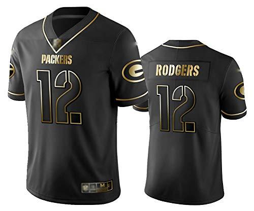 Aaron Rodgers Herren American Football Trikot 12#, Rugby Sportswear, Herren American Football Trikot, Atmungsaktive Trikots-Black-XXL(190~195)