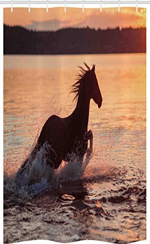 ABAKUHAUS Reiter Schmaler Duschvorhang, Pferde Meer bei Sonnenuntergang, Badezimmer Deko Set aus Stoff mit Haken, 120 x 180 cm, Dunkelbraun Lachs