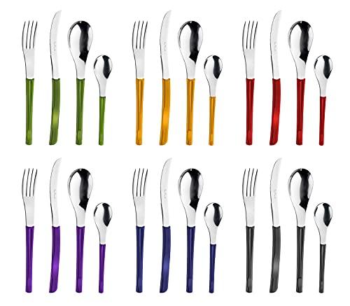 Pintinox Set da 24 Posate Serie Movie in Acciaio Inox Nichel Free, con Manico Colore: Multicolor