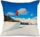QUEMIN Funda de Almohada Skier Jumping Fly Casco Rojo Ski Summits Resort Italia...