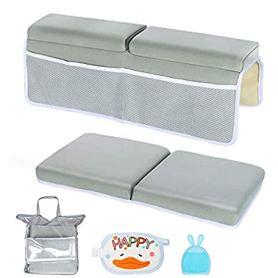 """Bath Kneeler and Elbow Rest Set Baby Bath Kneeling Pad, 1.5"""" Thick Non-Slip Bathing Kneeling Mat Quick Drying Bathtub Knee Mat with Arm Support and Pockets for Baby Bath, Garden Work, Yoga -Gray"""