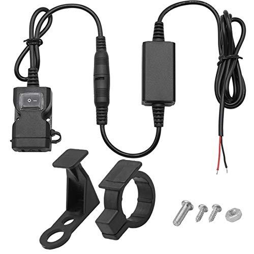 VOSAREA Chargeur USB pour moto, guidon, rétroviseur, étanche, double ports 3,1 A, charge rapide, adaptateur avec interrupteur pour moto, tricycle, ATV, scooter et autres véhicules (noir)