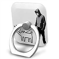 Banksy Haring Dog スマホリング ホールドリング 指輪型 360回転 アンドロイド 正方形 片手操作 落下防止 可愛い 男女兼用