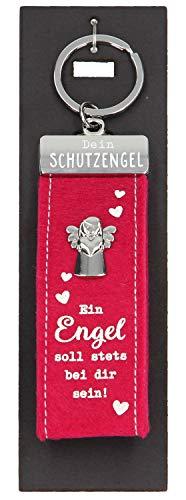 Depesche 10890.004 Schlüsselanhänger aus Filz, mit Schutzengel und Aufschrift, EIN Engel soll stets bei dir Sein, rot, ca. 15 cm