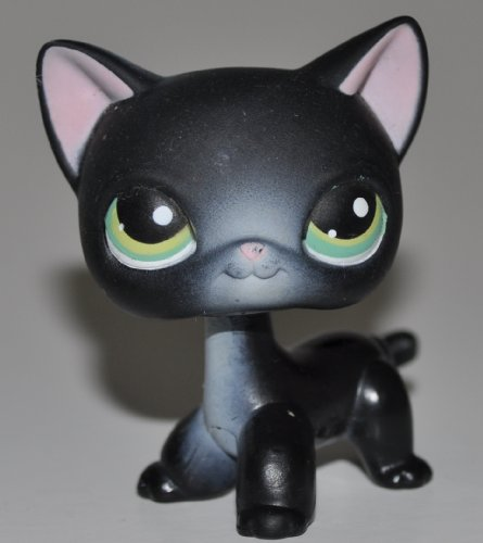 Shorthair #336 (Black, Green Eyes) - Littlest Pet Shop (Retired) Collector Toy - LPS Collectible Replacement Figure - Loose (OOP Out of Package & Print)