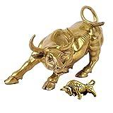 La escultura de bronce del toro la decoración del hogar representa la vida buena suerte Feng Shui riqueza (dos grandes toros y grandes toros)