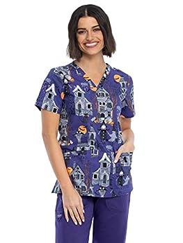 Cherokee Prints Women Scrubs Top V-Neck Plus Size CK651 2XL Haunted Halloween