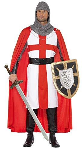 Smiffys Mannen St. George Held kostuum, hoofdeinde, armkettingen, tuniek met omhang en riem, Maat: M, 34315