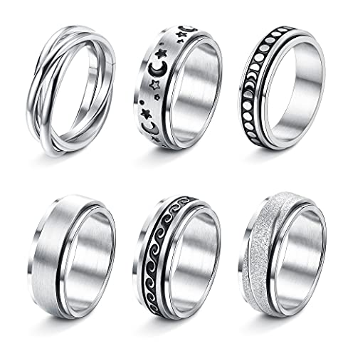 Jstyle 6Pcs Stainless Steel Fidget Band Rings Spinner Rings for Women Mens Moon Star Sun Ring Triple Interlocked Rolling Celtic Stress Relieving Reduce Anxiety 5