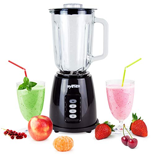 Grafner Glas Standmixer 1,5 Liter mit Edelstahlmesser und 350 Watt Leistung, BPA-Frei, Glas-Krug, Universal Mixer Eiweiß Shaker Ice Crusher Zerkleinerer Blender