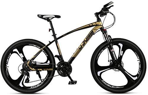HCMNME Durable Bicycle, 24 inch Mountain Bike Men and Women Adult Ultralight Racing Light Bicycle tri-Cutter No. 1 Alloy Frame with Disc Brakes (Color : Black Gold, Size : 27 Speed)