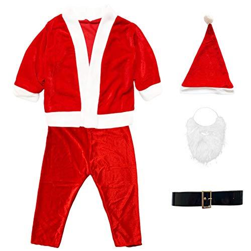 Disfraz Papá Noel Niño - Disfraces para Niños - Chaqueta,Pantalón,Barba,Gorro y Cinturón para Navidad o Cosplay,Conjunto de 5pcs,Rojo(6-8año)
